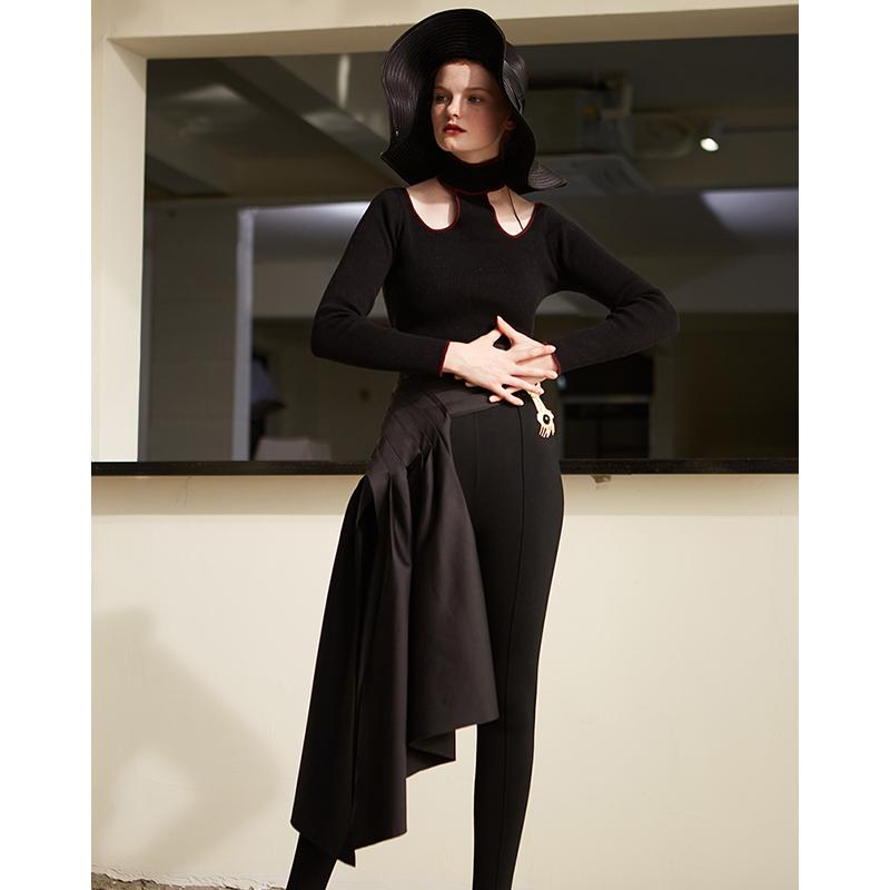 黑缎面光感排褶收腰设计拼接装饰半裙RIMLESS原创设计师品牌