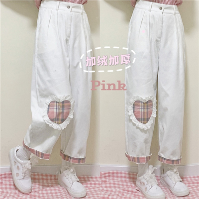 taobao agent Long pants female spring and autumn straight pants Japanese soft girl cute loose plus velvet corduroy wide-leg pants 2021 new