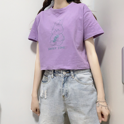 taobao agent Japanese soft girl college style cute purple short short-sleeved white t-shirt female top summer 2021 new ins tide