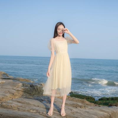 海边风度假沙滩裙夏季新款小清新气质超仙吊带网纱连衣裙长裙