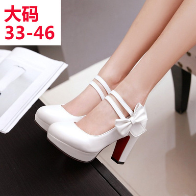 taobao agent cos bow thick high-heeled powder white Lolita Princess maid uniform leather shoes dancing performance pseudonym plus size
