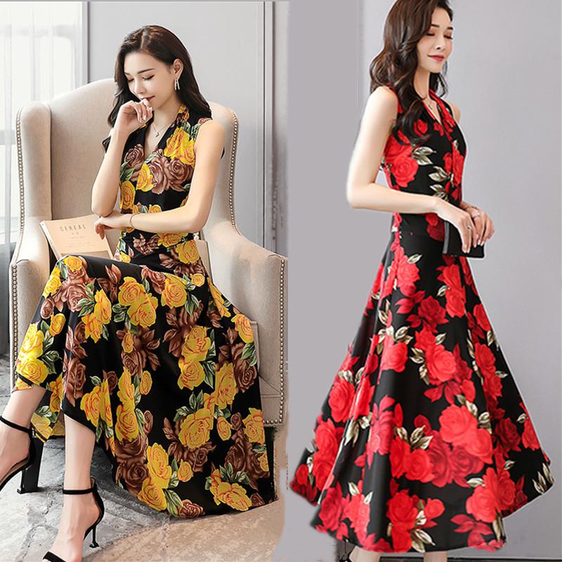 Xuân-Hè 2019 Các bà mẹ có cổ chữ V mặc váy xòe rộng vừa phải cho phụ nữ trung niên và người lớn - Quần áo của mẹ