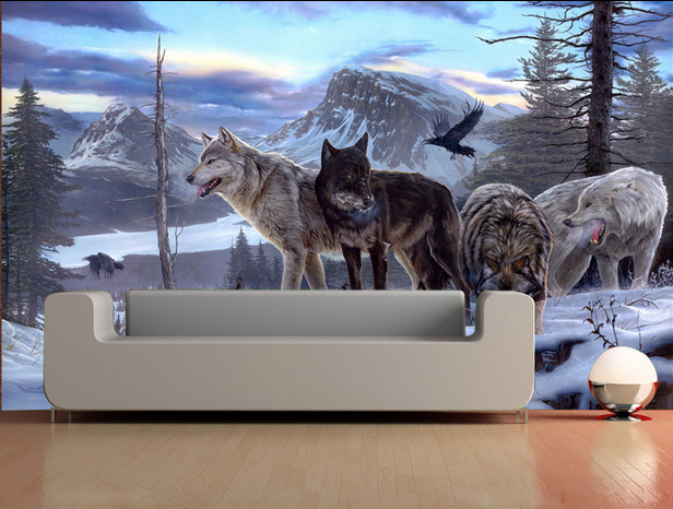 3D Sitting Room The Bedroom Embossed TV Wolf Background
