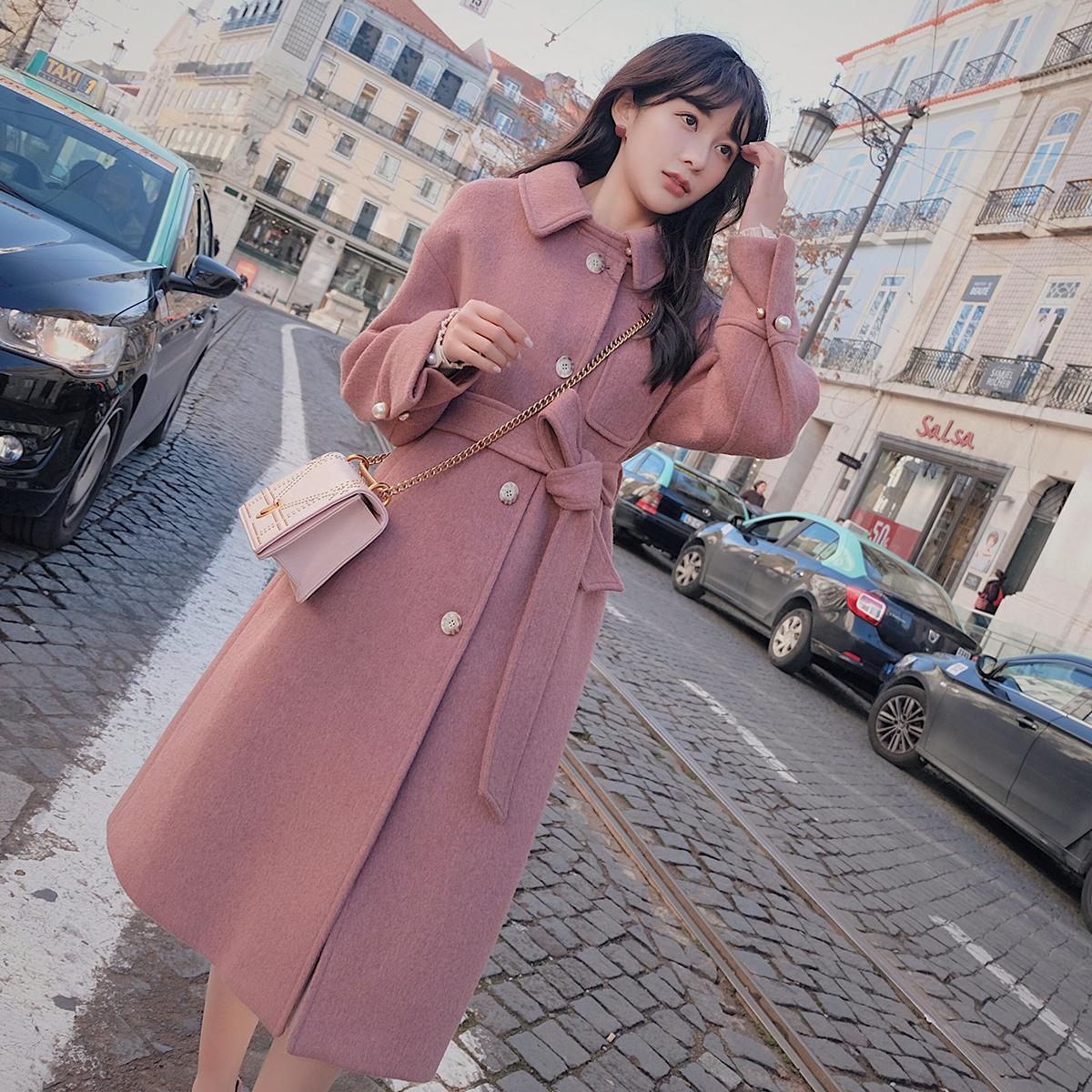 Chanel ca cao eo áo len sang trọng mùa đông phần dài Hàn Quốc phiên bản 2018 mới dày áo len nữ Accentuated eo áo