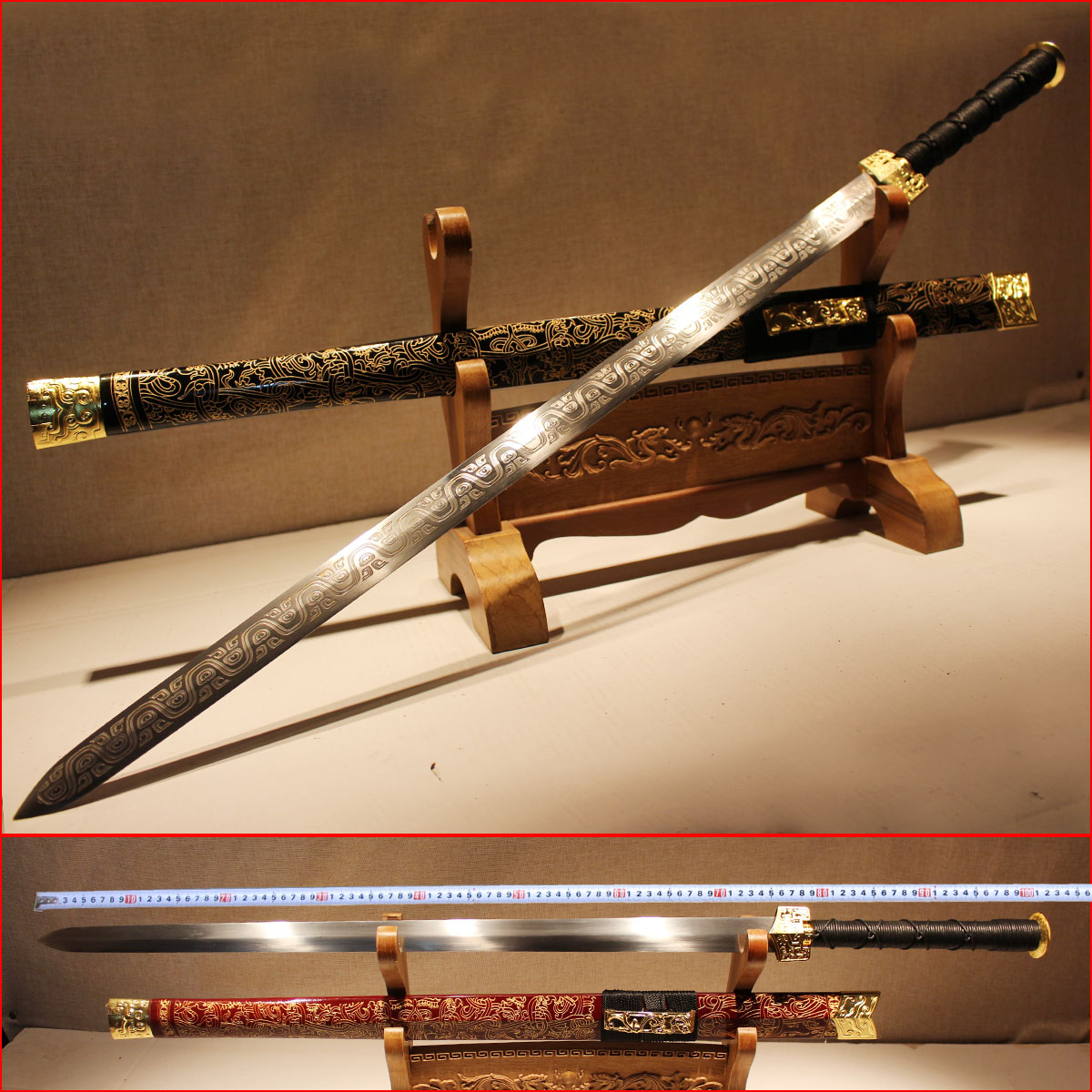 longquan ysm long han jian town curtilage sword DLC tang sword manganese steel knife self-defense forces is not edged usually