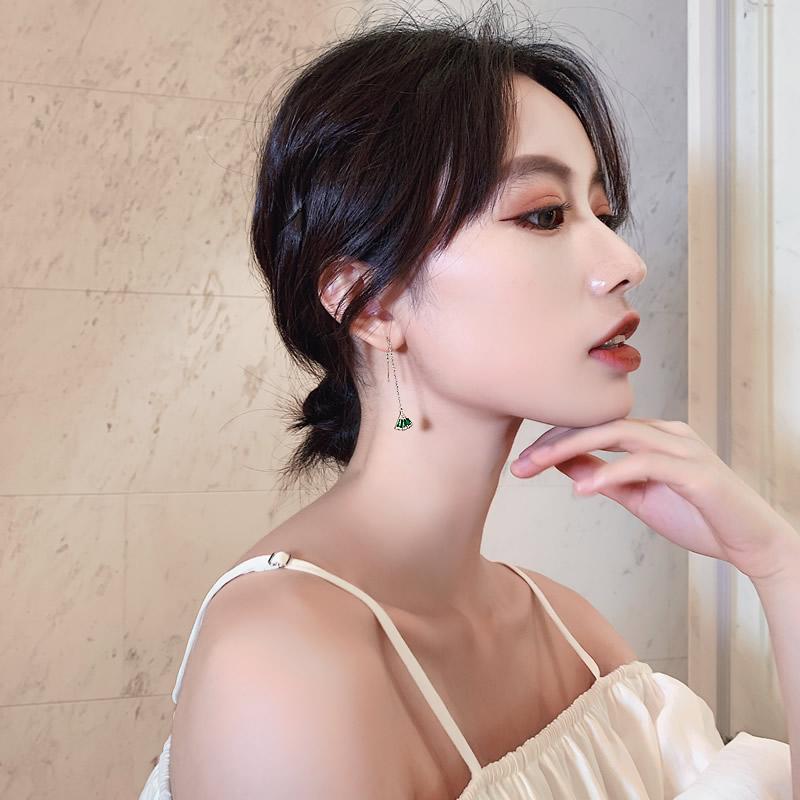 祖母绿扇形耳线女不对称耳环气质韩国耳坠微镶工艺宫廷风银针耳线