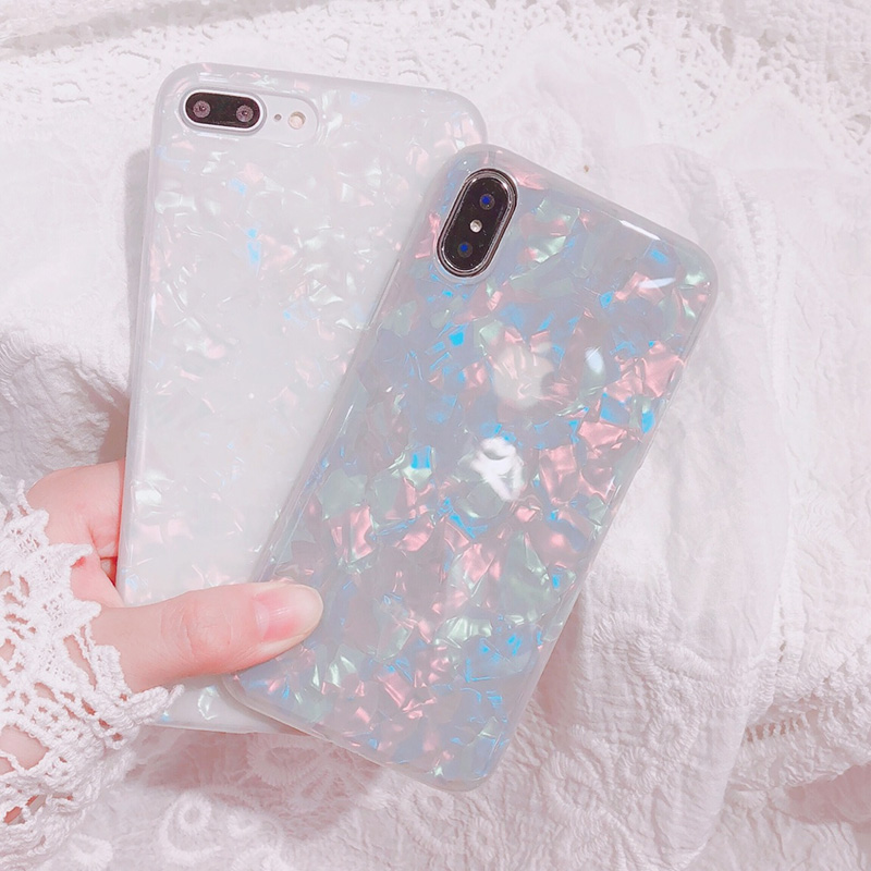 苹果7plus手机壳少女梦幻贝壳iPhoneX/8p创意清新6sp软保护套简约