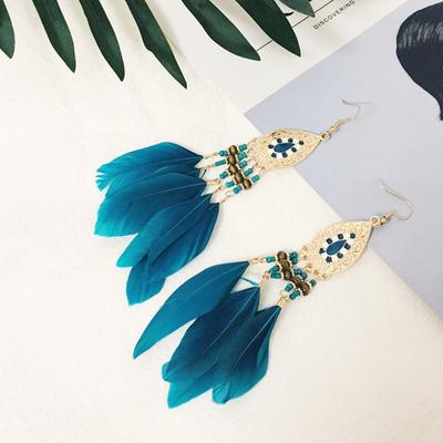 复古民族风波西米亚度假羽毛流苏耳环