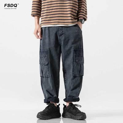 伏神秋季日系嘻哈牛仔裤男直筒宽松多口袋牛仔裤男潮牌男士长裤