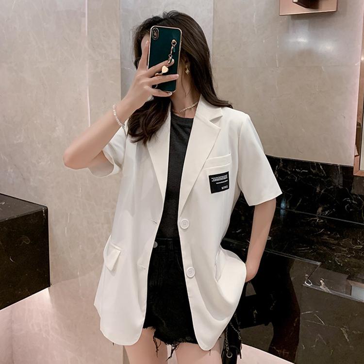 白色小西装女2021夏季薄款短袖外套