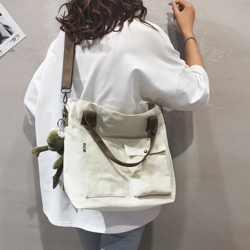 帆布大包包女包新款学生上课纯色手提托特布袋包单肩斜挎包潮