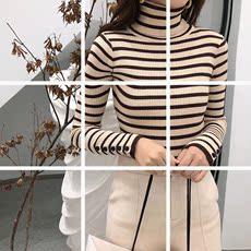 现货   高领毛衣秋冬装新款上衣韩版条纹针织长袖修身显瘦打底衫