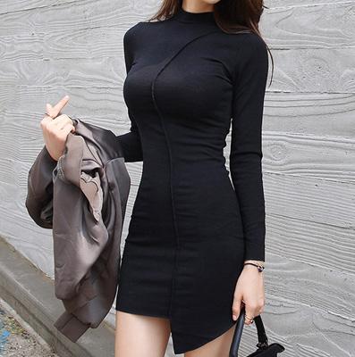 秋冬打底裙 黑色修身不规则裙摆包臀裙性感长袖连衣裙