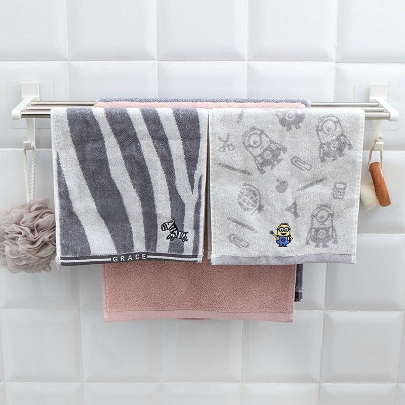 家居卫生间用品大全浴室毛巾挂钩杆置物架免打孔浴巾架壁挂式厕所