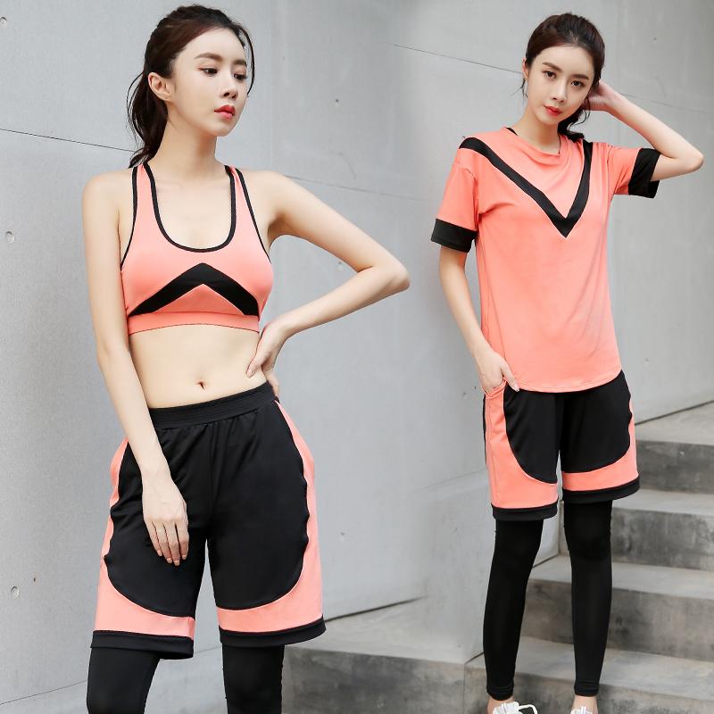 瑜伽健身服春夏季速干衣专业健身房晨跑步运动套装女大码2018新款