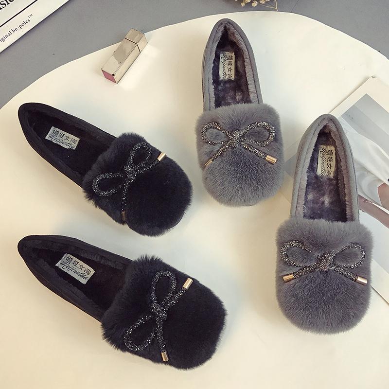 天天特价冬季豆豆鞋女加绒保暖毛毛鞋厚底外穿棉瓢鞋社会鞋大码鞋