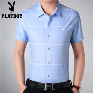 Mùa hè mới ăn chơi kẻ sọc ngắn tay áo sơ mi nam của mercerized bông lót quần áo giản dị Hàn Quốc phiên bản của bán tay áo triều