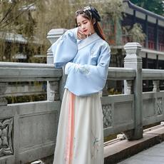 6067日常改良古装汉服女款明制刺绣花交领袄裙传统琵琶袖春秋冬季