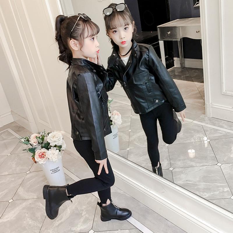 新款儿童春秋外套女童皮衣秋装女短款皮夹克小女孩洋气潮