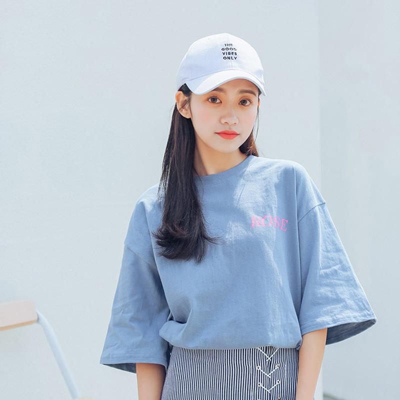 Mùa hè 2018 mới của Hàn Quốc phiên bản của sinh viên lỏng lẻo nhỏ tươi rộng tay ngắn tay màu xanh và trắng dài T-Shirt áo sơ mi nữ