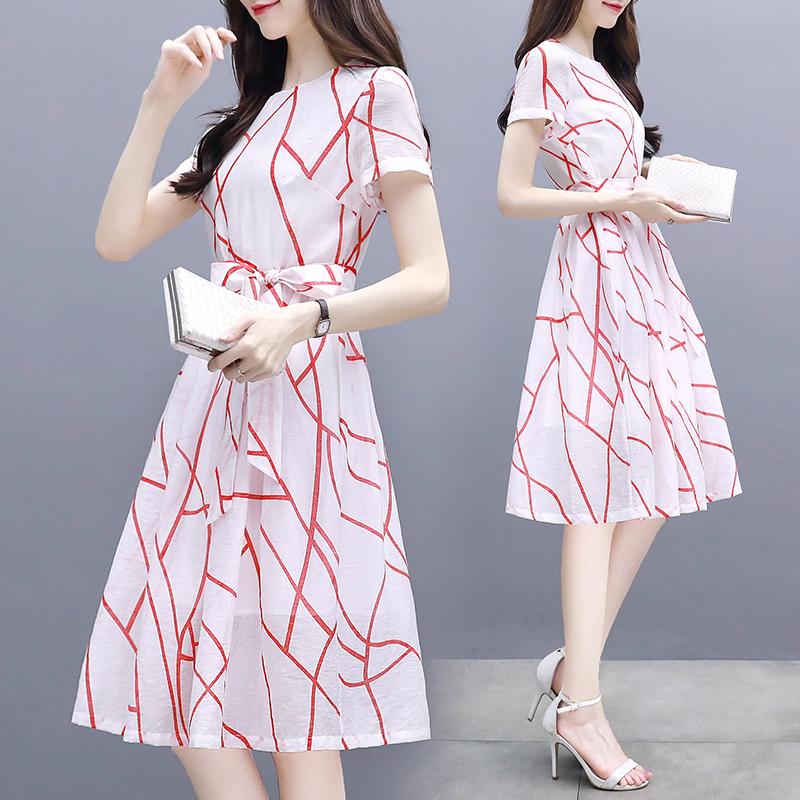 2018夏季新款韩版女装修身显瘦收腰系带中长款棉麻印花气质连衣裙