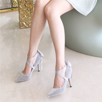 Bandage ballet velvet pointed stiletto heels womens shoes new single shoes
