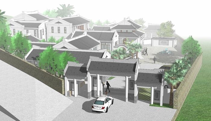 廣東揭陽中式四合院設計案例--為特殊地形量身設計的四合院