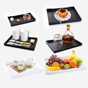 宾馆塑料托盘长方形商用水杯茶盘密胺盘子酒店北欧杯子拖盘家用