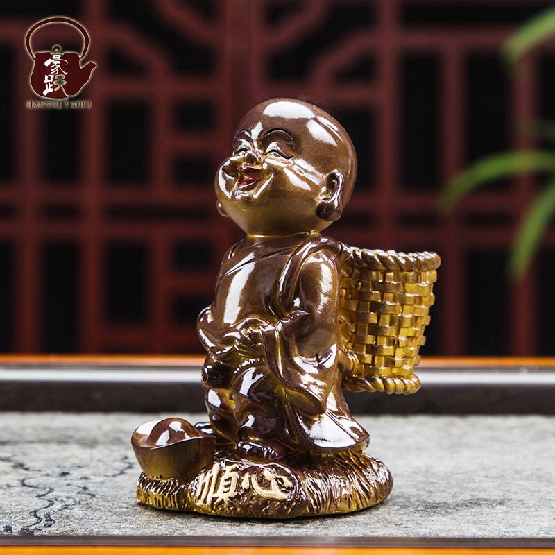豪跃陶瓷 创意家居变色茶宠小和尚