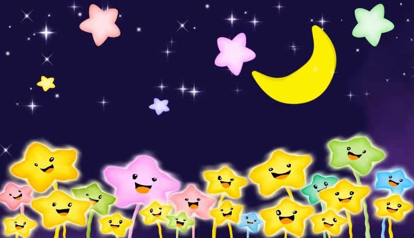 儿童节卡通满天星星月亮卡通可爱背景LED舞台背景视频素材
