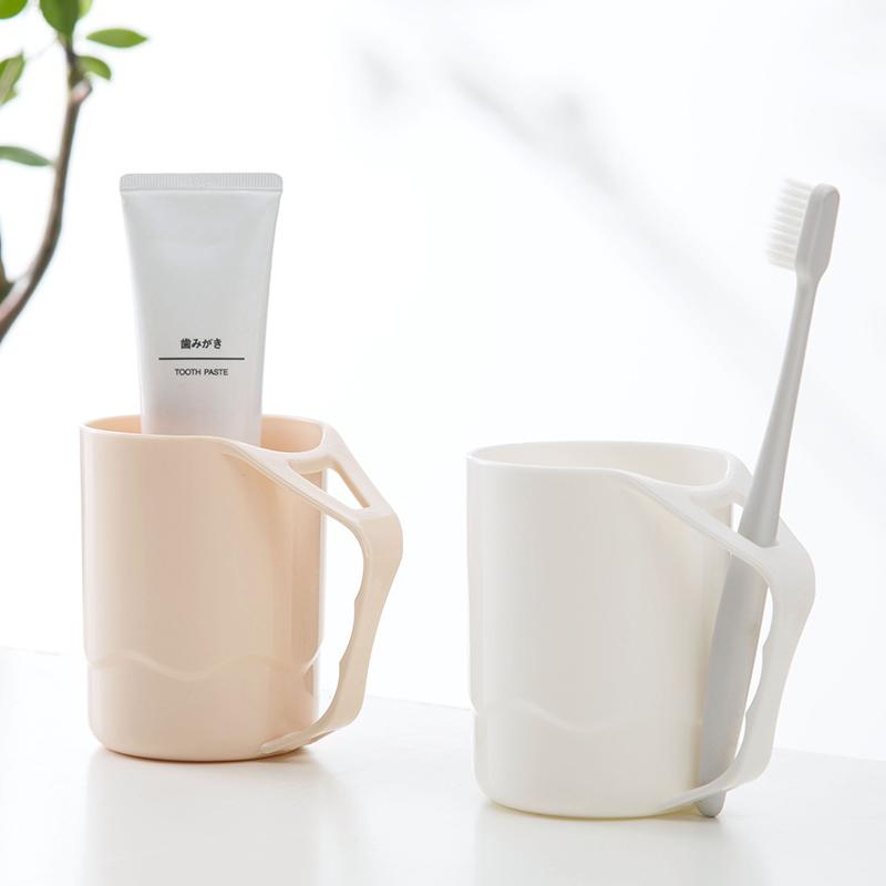 创意素雅色刷牙杯家用塑料漱口杯 带手柄情侣牙缸杯洗漱杯牙刷杯