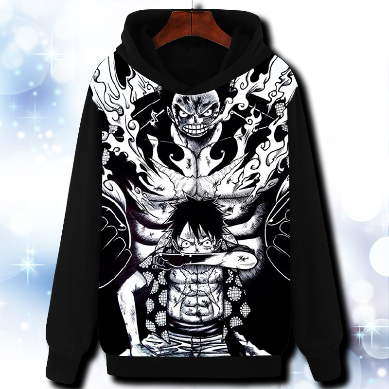 Anime OP//ONE PIECE Monkey D Luffy Black Sweat shirt Casual Hoodie Coat Clothes