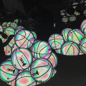 Chính hãng DXXL Bears Phản Quang Luminous Luminous Holographic Cầu Vồng Bóng Rổ Số 7 Số 5 Trẻ Em của Quân Đội Brothers Lắc Bóng Màu Xanh