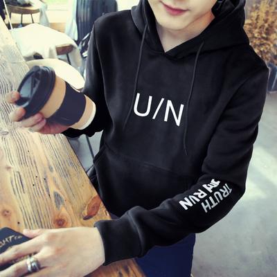 Văn học nam mùa hè mới của Hàn Quốc phiên bản của xu hướng của Hồng Kông Aberdeen bảy điểm tay áo T-Shirt áo len trùm đầu nam sinh viên lỏng ngắn tay áo Áo len