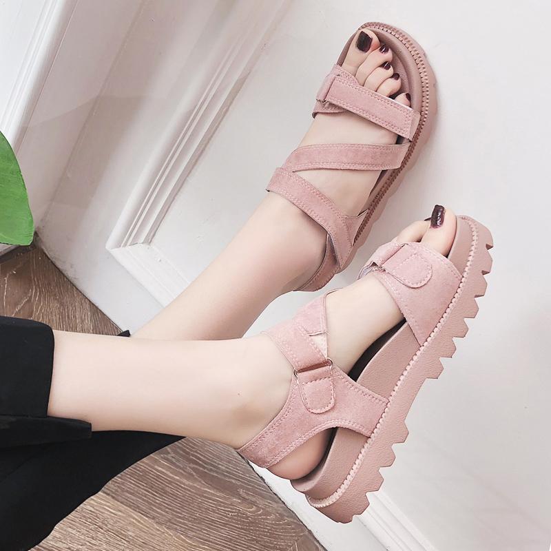 网红凉鞋女学生2019新款夏季女式原宿风韩版百搭平底厚底松糕女鞋