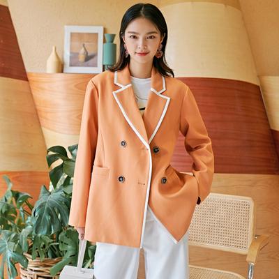 裁缝的通缉令通勤简约小西装外套女双排扣宽松休闲西服荧光橘女装