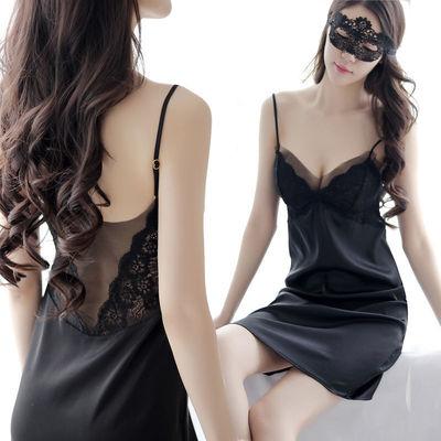 性感睡衣女仿真丝睡裙冰丝薄款吊带情趣网纱大码带胸垫家居服