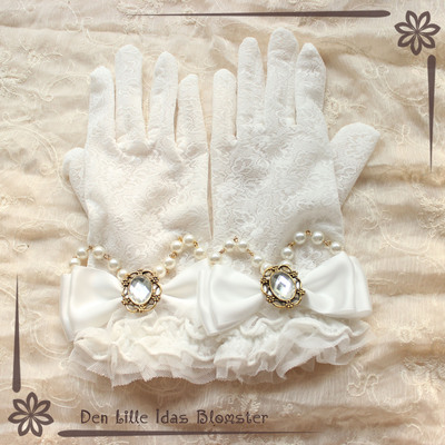 42agent Xiaochun's Song - Lolita Handmade Butterfly Bead Chain White Lace Gloves Bridal Gloves - Taobao