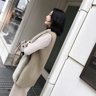 ◆ASM◆超好搭配的叠穿单品獭兔毛拼接羊毛马甲