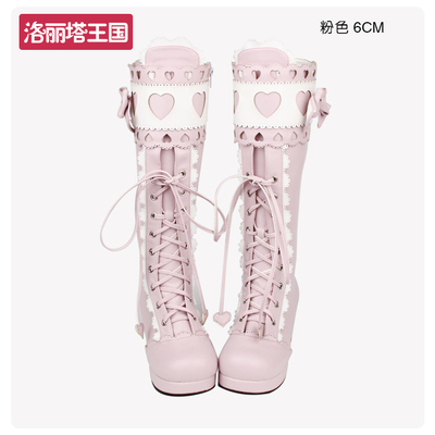 42agent Japanese round head LOLITA boots sweet lace bow heart-shaped high tube Lolita Princess boots 8166 - Taobao
