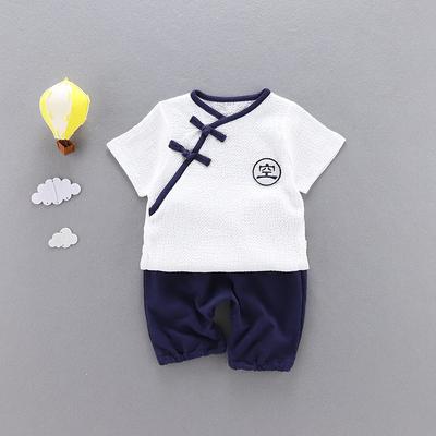 男童夏装棉麻套装新款童装女宝宝0一1-3岁儿童汉服短袖两件套