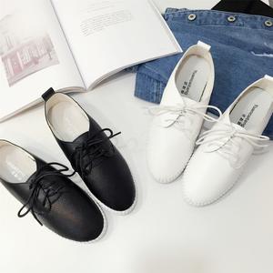 2017夏季新款韩版系带小白鞋纯色真皮女鞋休闲平底鞋888-1