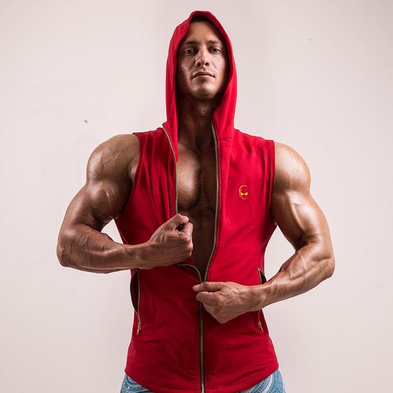 Cơ bắp của nam giới trùm đầu tập thể dục quần áo phù hợp với đào tạo áo khoác thể dục anh em chạy thể thao thoáng khí vest không tay vest