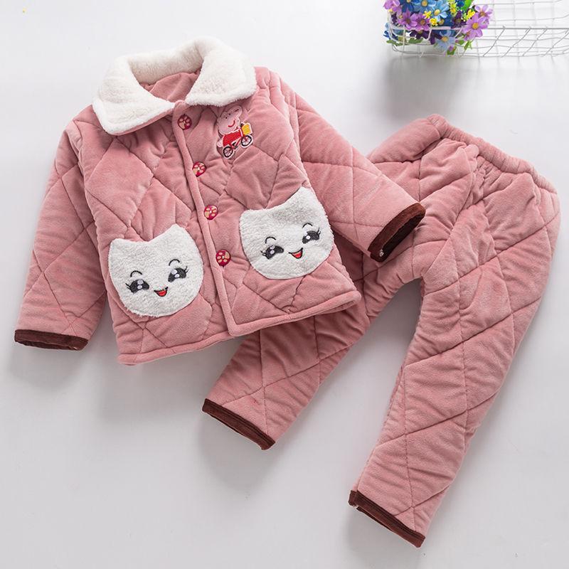 2020新款冬季儿童睡衣三层夹棉男女童冬款加厚保暖休闲家居服套装
