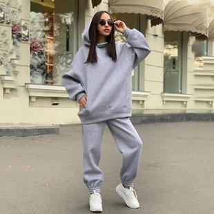 ! New fashion Hooded Sweater casual two piece set