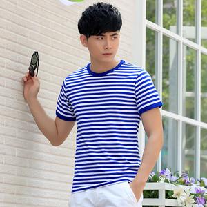 Mùa hè biển linh hồn áo sơ mi nam ngắn tay t-shirt hải quân tùy chỉnh phù hợp với phong cách hải quân cotton nửa tay màu xanh và trắng sọc những người yêu thích