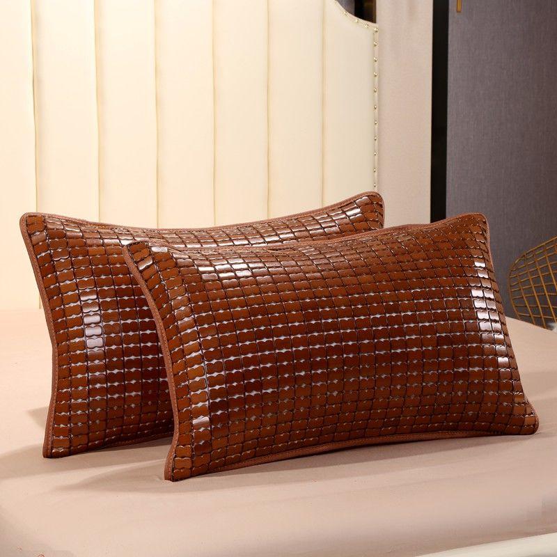 夏季麻将凉席枕套竹凉席枕头套单人枕垫40X60成人凉枕头外套竹席