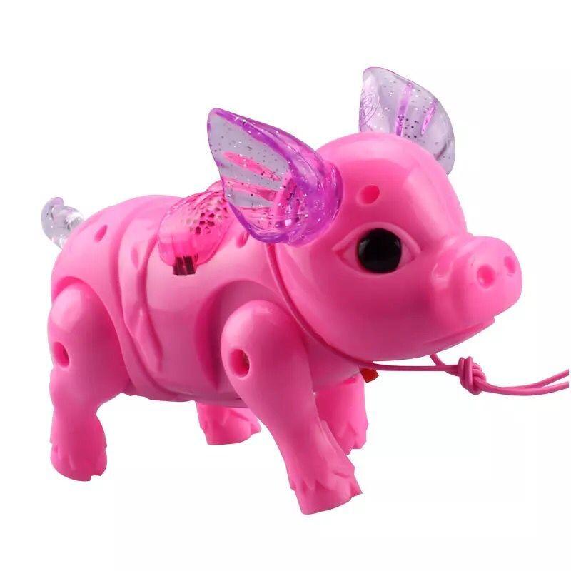 抖音同款玩具:可以溜的发光小猪