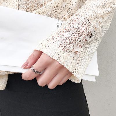 通体s925纯银复古做旧戒指小众设计简约时尚日韩潮人个性食指戒女