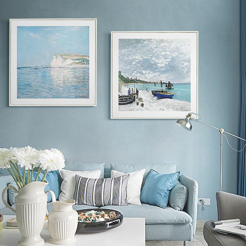 莫奈风景装饰画简约现代客厅餐厅沙发挂画地中海风格壁画走廊过道
